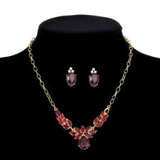 18K GOLD PLATED & GENUINE AUSTRIAN CRYSTAL RUBY RED NECKLACE & EARRING SET