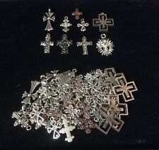 LOT OF 69 VINTAGE MISC CROSSES SILVER TONE AND COPPER TONE RELIGIOUS CRAFTS