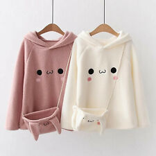 Kawaii japonais Lapin Lapin Toison Hoodies Bandage Sweatshirts Pullover Pull