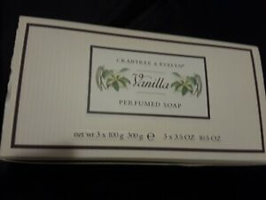 CRABTREE & EVELYN VANILLA PERFUMED SOAP SET of 3 boxed BARS 3.5oz EACH BOXED NEW