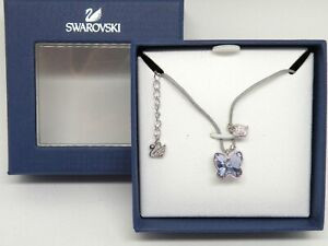 """Authentic Swarovski """"SS Butterfly"""" Crystal Pendant  Grey Cord New in Box"""