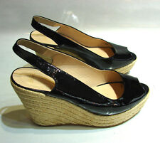 BALLY MADE IN ITALY SIZE 38 1/2 SIMPA WEDGE SHOES ESPADRILLS PATENT LEATHER