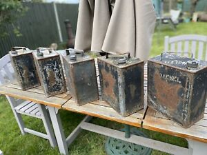 Vintage oil / petrol cans lot of 5 BP Shell - brass cap - restoration / display
