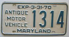 Maryland 1970 ANTIQUE MOTOR VEHICLE License Plate NICE QUALITY # 1314