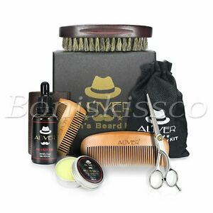 Men's Beard Mustache Care Kit Comb Brush Scissors Cream Father's Day Gift Box