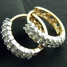 HOOP HUGGIE EARRINGS GENUINE REAL 18K YELLOW G/F GOLD DIAMOND SIMULATED DESIGN