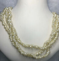 Triple Strand Necklace Vintage 1980s Faux Pearl Beaded Jewellery Jewelry Retro