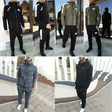 NEW Mens Print Casual Tracksuit Set Zipper Hoodie Jogging Pants 2pcs Suits UK
