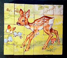 Jouet ancien : Ancien Jeu de Cubes en Bois : Bambi Lapin...  30 cubes - Vintage