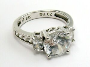 Sterling silver  ring cubic zirconia with three stone and accents by QVC size K