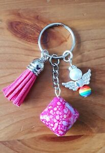 Rainbow angel with pink tassel keyring - mothers day, birthday gift