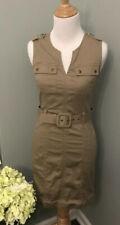 BANANA REPUBLIC MilItary Inspired Belted  Khaki Beige Dress Sz 0