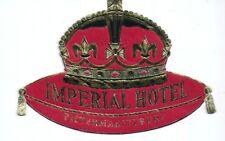 Hotel luggage label Imperial Hotel Pietermaritzburg, South Africa - Gold - EXC