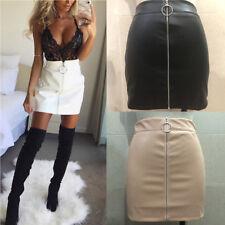 Women PU Leather Pencil Zip Up High Waist Mini Short Skirt Stretch Bodycon EW