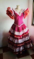 "Waist 31"" Polka Dot Authentic Flamenco Gypsy Dress Frida Kahlo Feria Gitana"