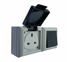 External IP54 13 Amp 240v Mains Outdoor Socket & 2 Way On/Off Switch - 204978