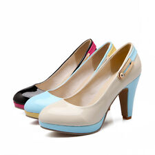 Ladies Party Shoes Synthetic Leather Platform High Block Heel Pumps US Size s248