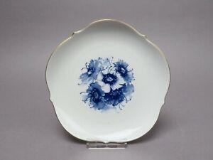 Meissen Wandteller Blaue Blume Aquatina Goldrand Modl 23501 ca 18,5 cm Ø