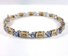 18k White and Yellow Gold Heart Cut Tanzanite Bracelet with Diamond Accents