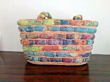 Cappelli Straworld Purse Handbag Multicolor Pink BLUE Tote Lined 100% Wheatbraid