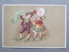 Antique Greetings Card Girl & Boy Dancing Folk Dress Tambourine Victorian Chromo
