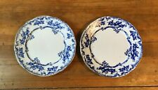 Pair of Ridgways LORRAINE Flow Flo Blue Gold Gilt Bread Butter Dessert Plates