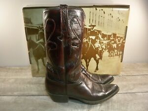 Lucchese L6918 Black Cherry Leather Mens Cowboy Western Boots Sz 9.5 Made in USA