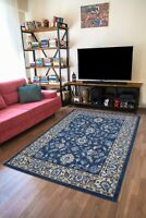 New Soft Navy Ivory Floral Oriental Traditional Living Room Area Rug Sale