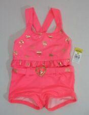 caab4cfe8 Chicas 12 meses coral dorado Flamingo Palmera dos piezas Bañadores Traje de  Baño Nuevo