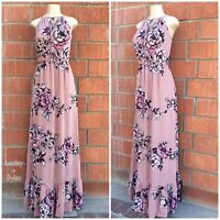 Le Vintage 86 Dusty Pink Floral Sleeveless Maxi Dress With Elasticized Waist