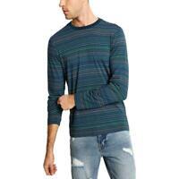 Guess Mens T-Shirt Blue Size XL Crewneck Stripe Print Long Sleeve Tee $49 #083