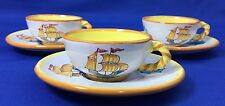Nika Handmade Pottery Demitasse Cups & Saucers Clipper Ship Sail Boat Set of 3