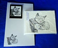 Content Mother Cat and Kitten 3 Pc Set-Notepad, 6 Blank Notecards and Magnet New