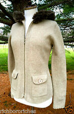 NEW Anthropologie Sleeping on Snow taupe faux fur hood Cardigan Sweater Coat L