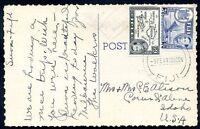 BRITISH FIJI TO USA Circulated Postcard 1949 VF