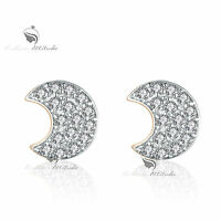 18k yellow white gold gf made with SWAROVSKI crystal moon stud earrings cute
