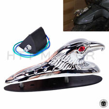 HTTMT Motorcycle Chrome Front Fender Bonnet Eagle Head with Red LED Eyes