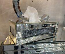 Tuscany Mirrored Glass Medium Tissue Box Holder Cover with Swarovski Crystals