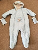 Next Baby Boys Light Blue Snow Suit Pram Suit With Mittens 9-12 Months B40