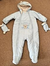 Next Baby Boys Snow Suit Light Blue Pram Suit Mittens Hood 9-12 Months B40