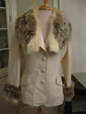 LILLI ANN Paris San Francisco vintage fox fur trimmed blazer made in USA Med