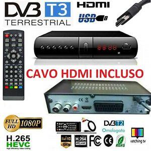 Decoder Digitale Terrestre DVB T2 T3 HDMI USB TV Full HD Scart Ricevitore HevC