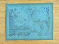 """5'1""""x6'10"""" Handwoven Aubusson Tapestry Pure Wool Oriental Rug G31923"""