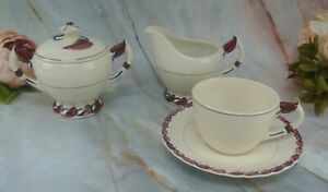 Vintage Vernon Kilns Monterey Red and Blue Cup & Saucer,Creamer and Sugar Bowl