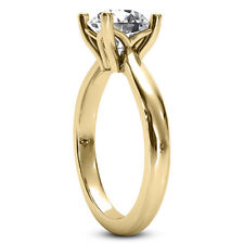 Solitaire 4 Prong 1.50 Ct Round Cut Diamond Engagement Ring Yellow Gold SI1 H