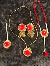 Jhumkas with Ring-Bracelet New Handmade Gota Jewelry Red