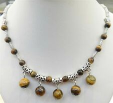 """LOVELY NATURAL TIGER'S EYE ROUND BEADS PENDANTS & TIBET SILVER NECKLACE 18""""PN316"""
