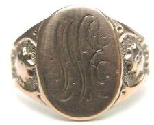 Antique Art Deco Vintage Unisex Signet 14K Rose Gold Ring Size 6.5 UK-M1/2