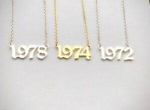 Personalised Birthday Year Necklace,Number Old English Font 925 Sterling SILVER