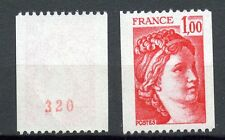 STAMP TIMBRE FRANCE NEUF N° 1981Aa ** TYPE SABINE ROULETTE  numero rouge au dos